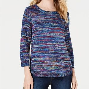 NY Collection Sweater Top Petite Space Dyed Blue